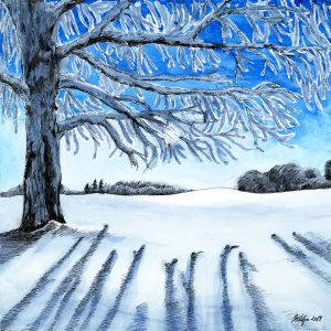 Härmas puu on päikesepaistelisel lumeväljal. Tindijoonistusega akvarellmaal.