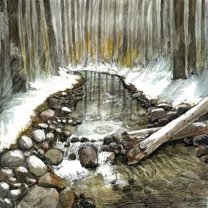 Metsa all vuliseb jõgi, lumi sulab, päike kumab kauguses. Akvarellmaal tindijoonistusega.