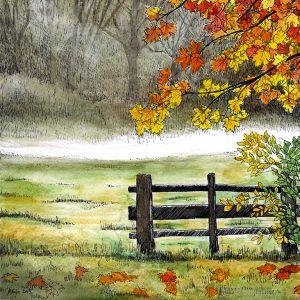Esiplaanil on aed ja värviliste lehtedega puu, tagaplaanil udune põld halli metsa ees. Maria Välja akvarellmaal.