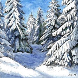 Päikesepaisteline hommik, paksu lume all kuused. Maria Välja akvarellmaal.